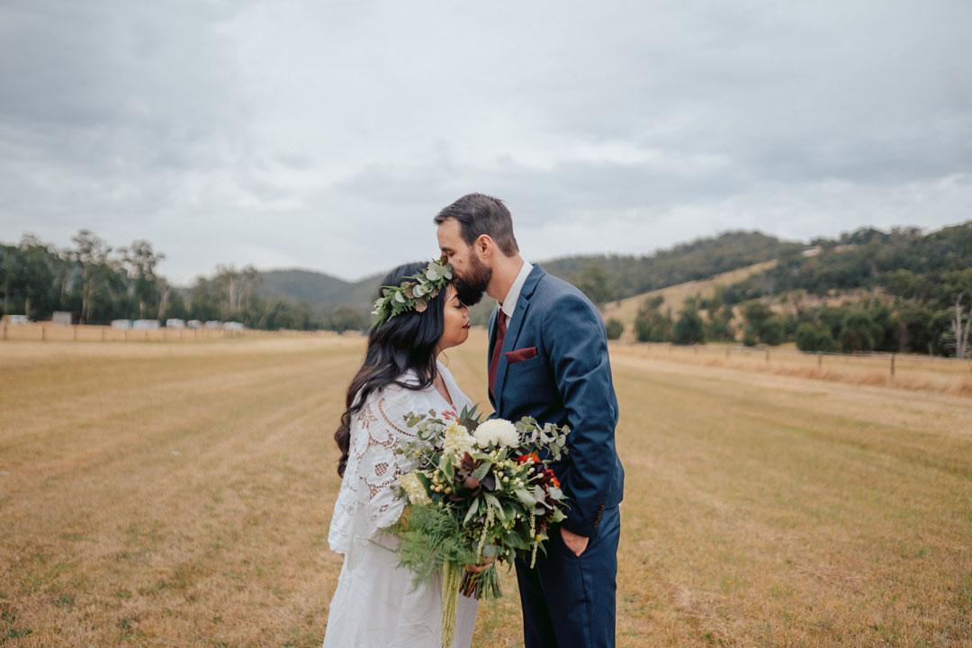 Melbourne Wedding & Bride Hadassah Botanica bride and groom flower crown